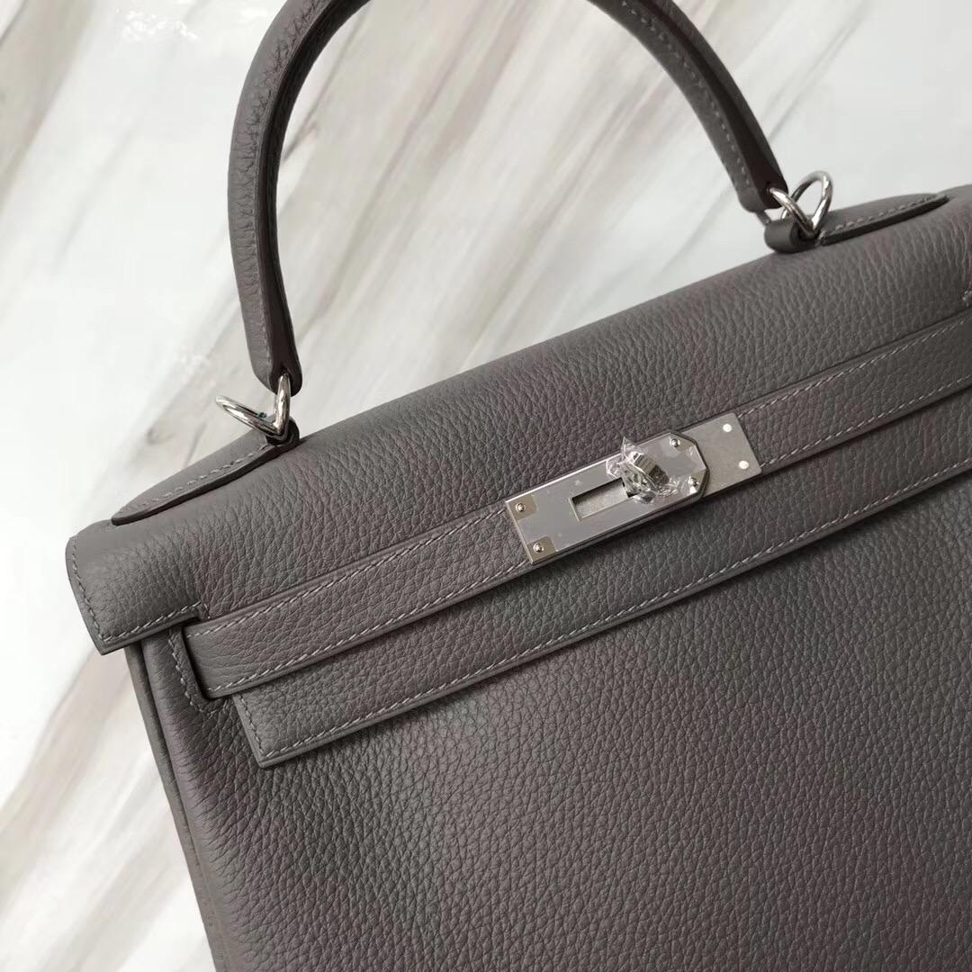 新加坡買愛馬仕包包 Hermes Kelly 28cm 8F Etain 錫器灰 Togo凱莉包