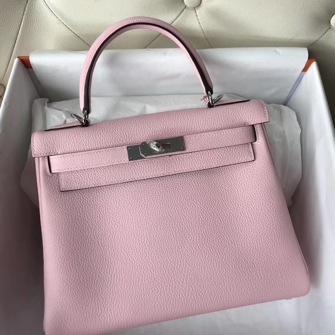 香港愛馬仕凱莉包包官網 Hermes Kelly 28cm 3Q新櫻花粉色 Rose Sakura