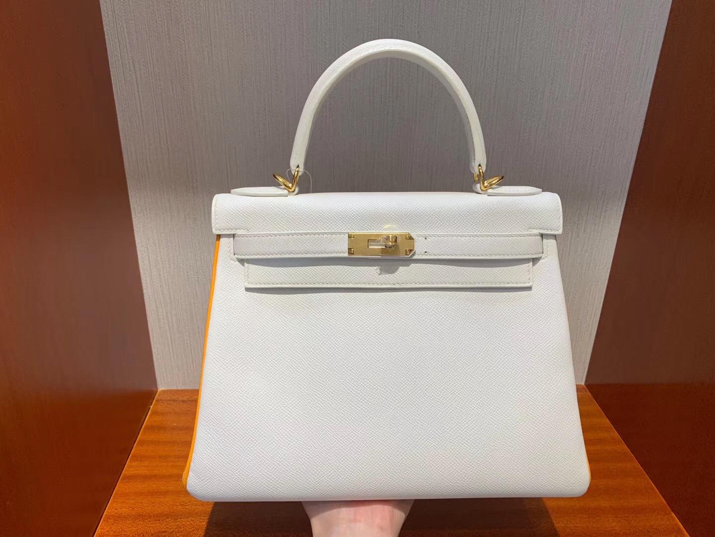 澳大利亞愛馬仕專賣店凱莉包 Hermes HSS Kelly Bag 28cm 01純白/CK93 Orange橙色