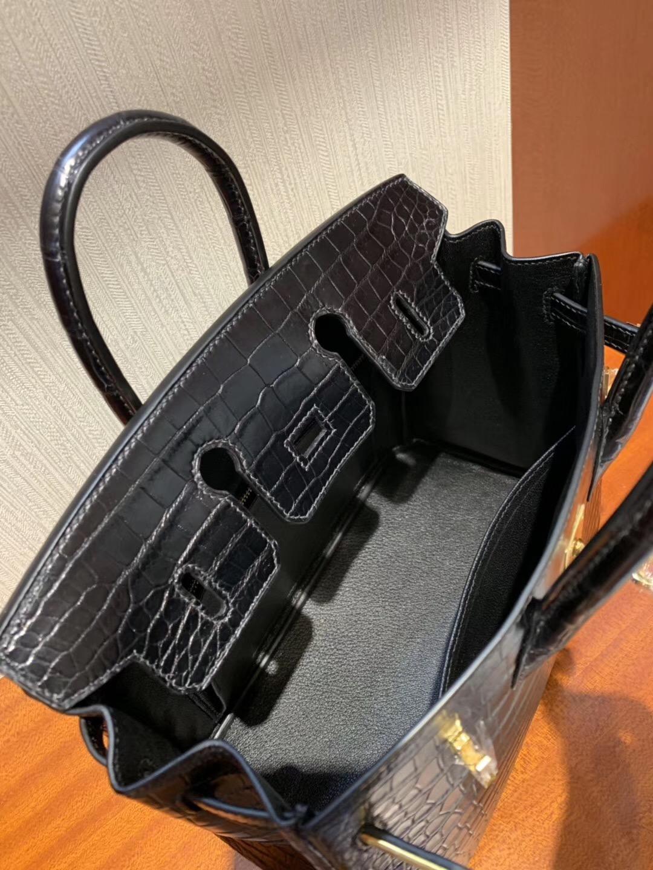 愛馬仕海港城專賣店 Hermes Birkin 30cm HCP霧面倒V 野生灣鱷  CK89黑色 Noir