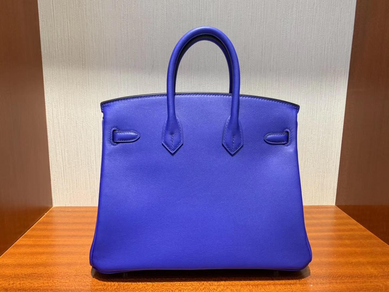 愛馬仕鉑金包價格 Hermes Birkin 25cm Swift 7T電光藍Blue Eletric 銀扣