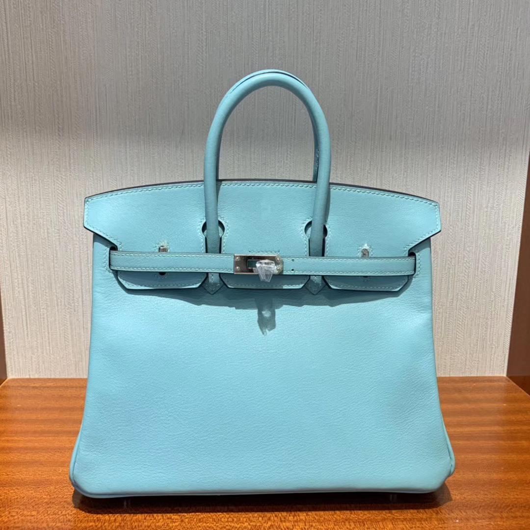 香港愛馬仕鉑金包價格 Hermes Birkin 25cm Swift 3P Blue Atoll馬卡龍藍