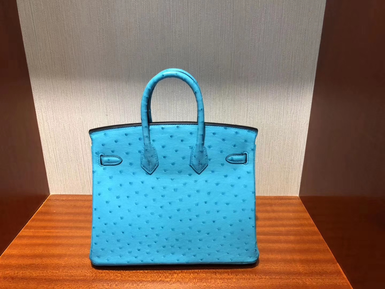 香港購買愛馬仕鉑金包Hermes Birkin 25cm Ostrich 3P馬卡龍藍 Blue Atoll