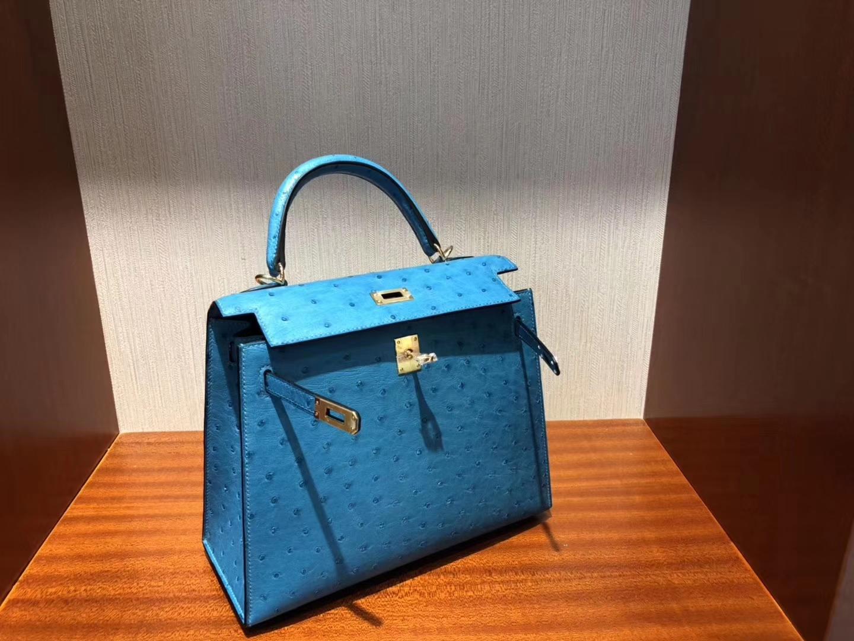 愛馬仕臺灣臺北專賣店 Hermes Kelly 25cm 7W Blue izmir 伊茲密爾藍南非鴕鳥皮