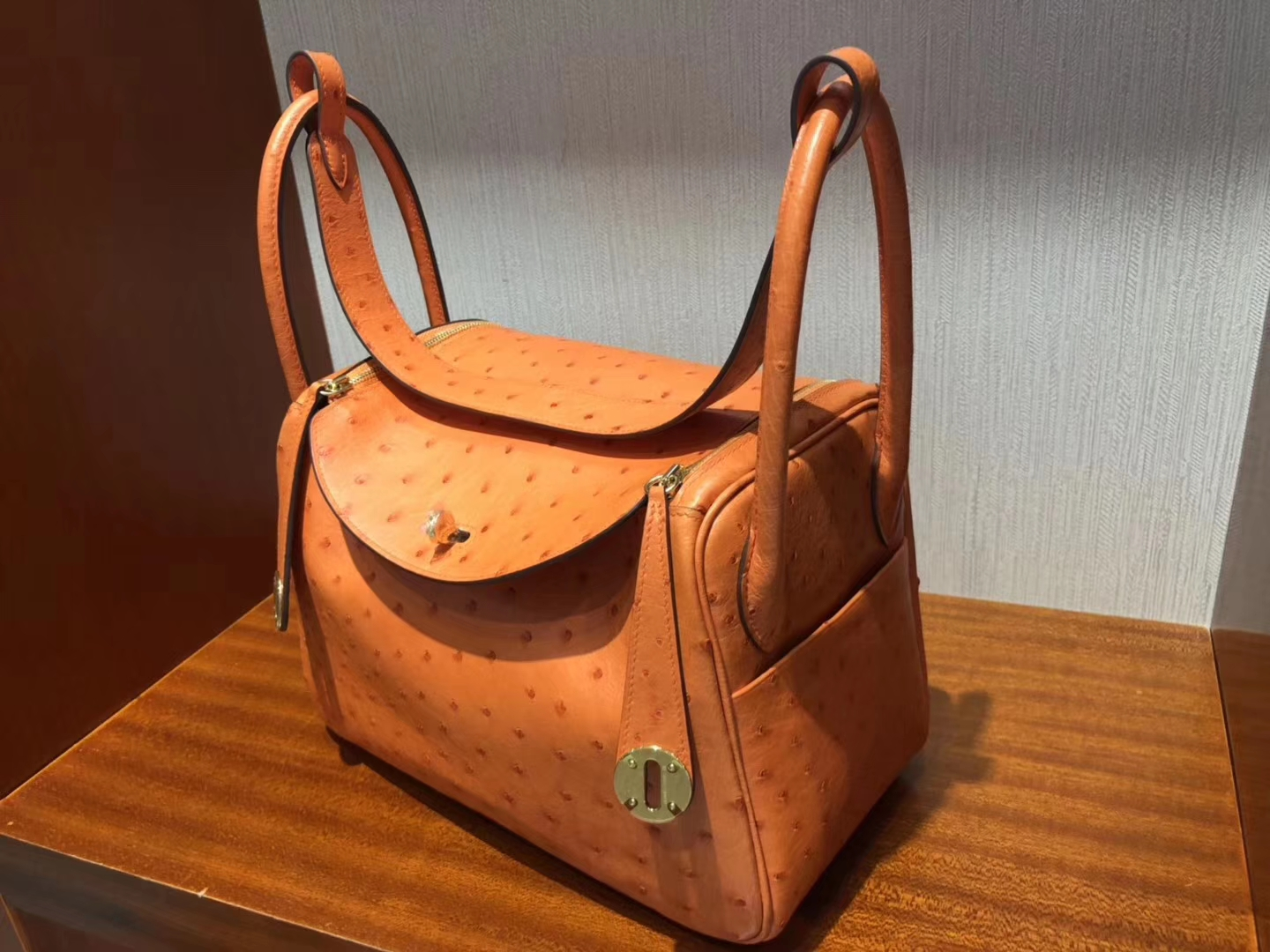愛馬仕lindy價格 Hermes Lindy bag 26cm CK93 Orange橙色 KK南非鴕鳥皮