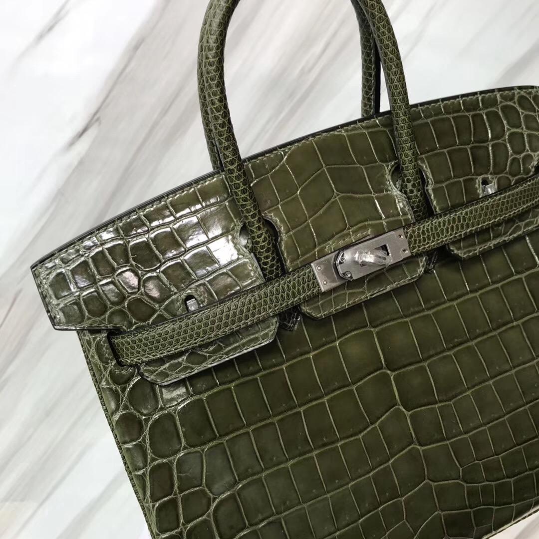 Hermes HSS Birkin 25cm 6H 橄欖綠 Vert Veronese 亮面尼羅鱷拼蜥蜴皮