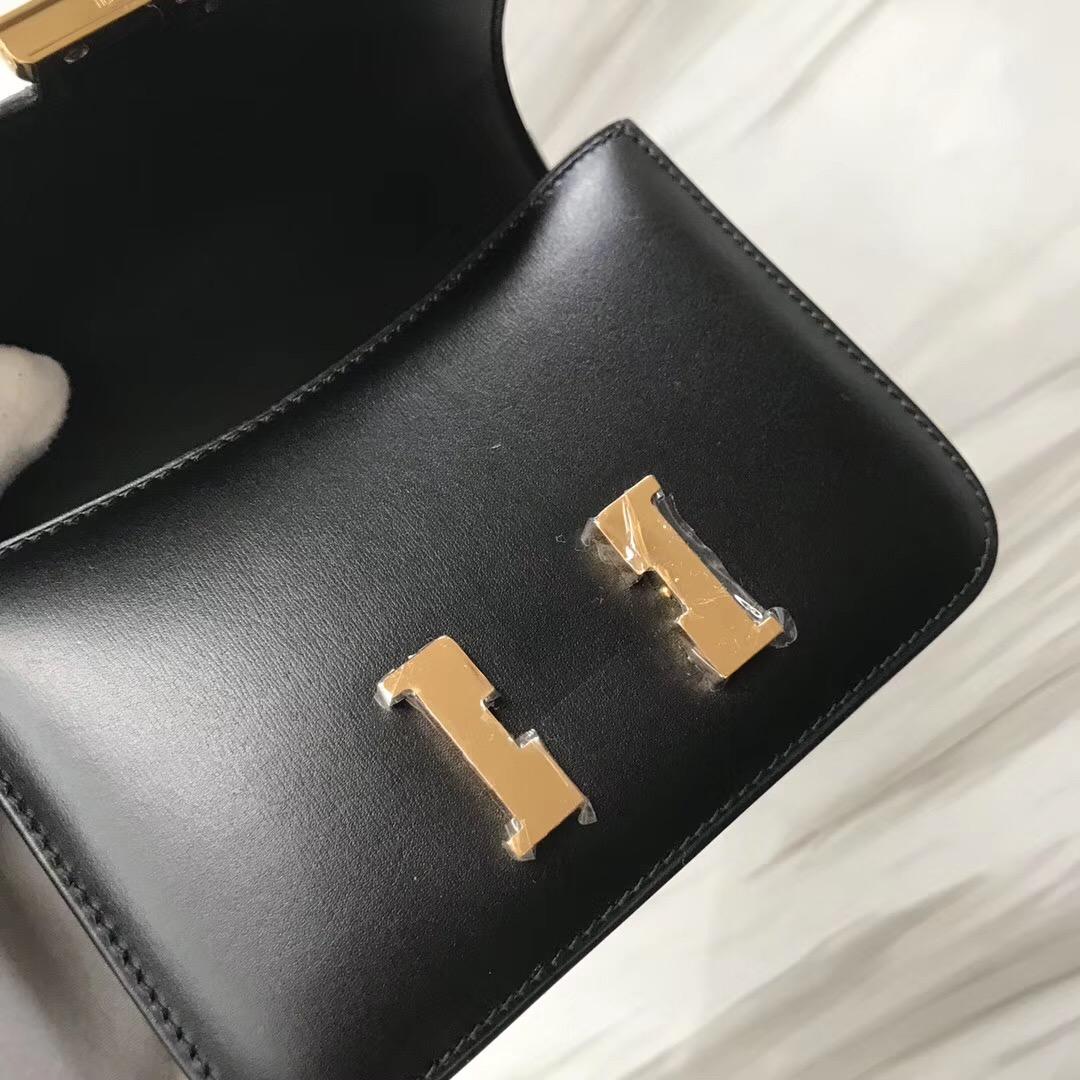 愛馬仕超迷妳康斯坦斯空姐包 Hermes Constance Mini 14cm Box CK89黑色