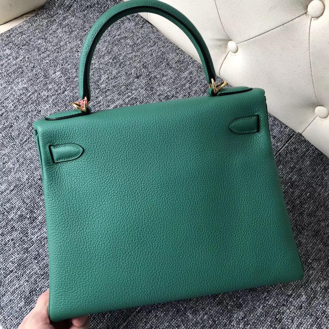 美國愛馬仕專賣店 USA Hermes Kelly 28cm U4丝绒绿 Vert Verigo