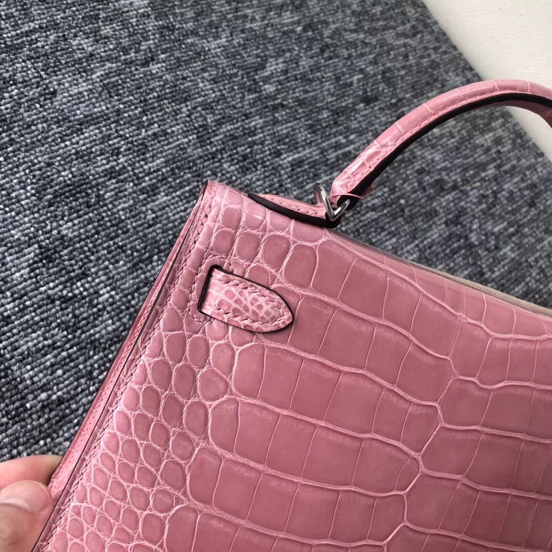 USA Hermes Kelly mini2代 19cm 1Q奶昔粉 Rose Confetti 亮面方塊 美洲鱷
