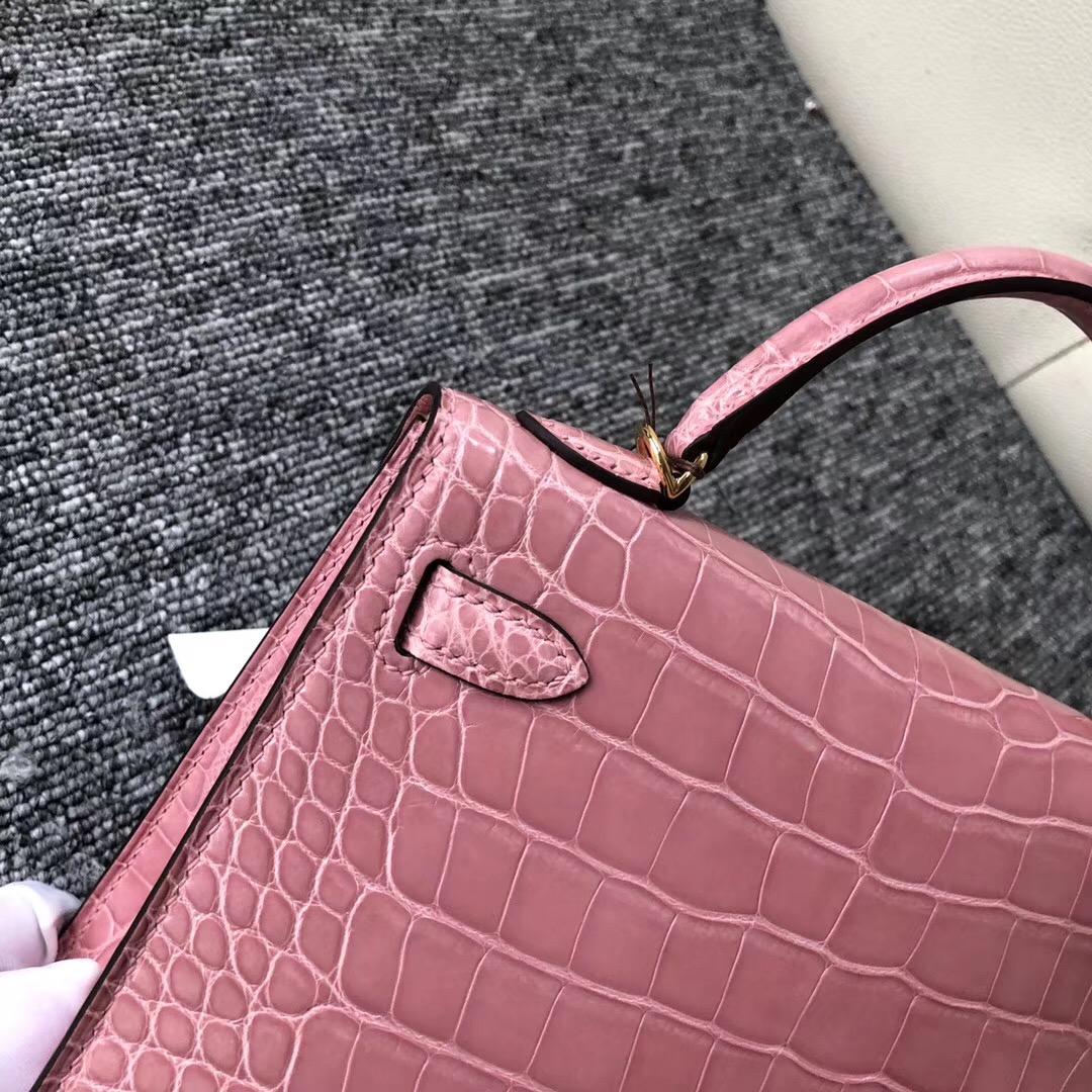 Australia Hermes kelly mini2代 亮面方塊 美洲鱷 1Q奶昔粉 Rose Confetti