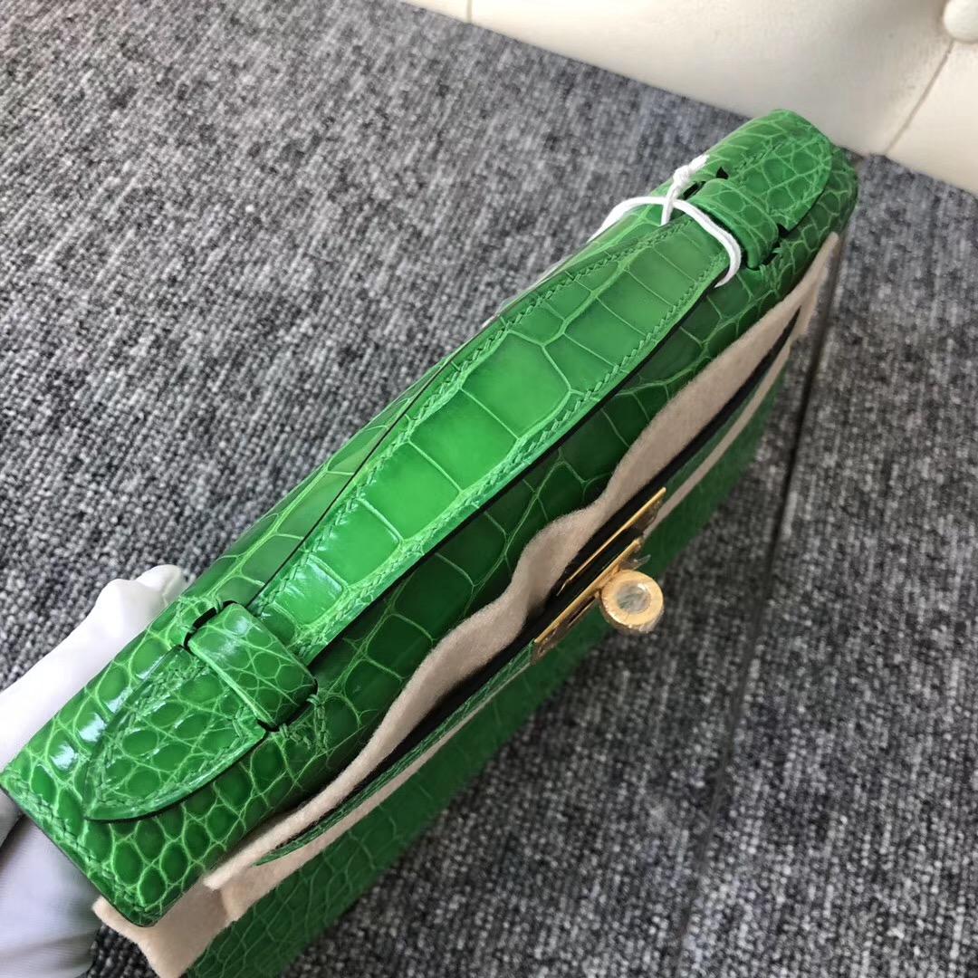 Aomen Macao Hermes MiniKelly pochette 1L仙人掌綠 Cactus 美洲鱷