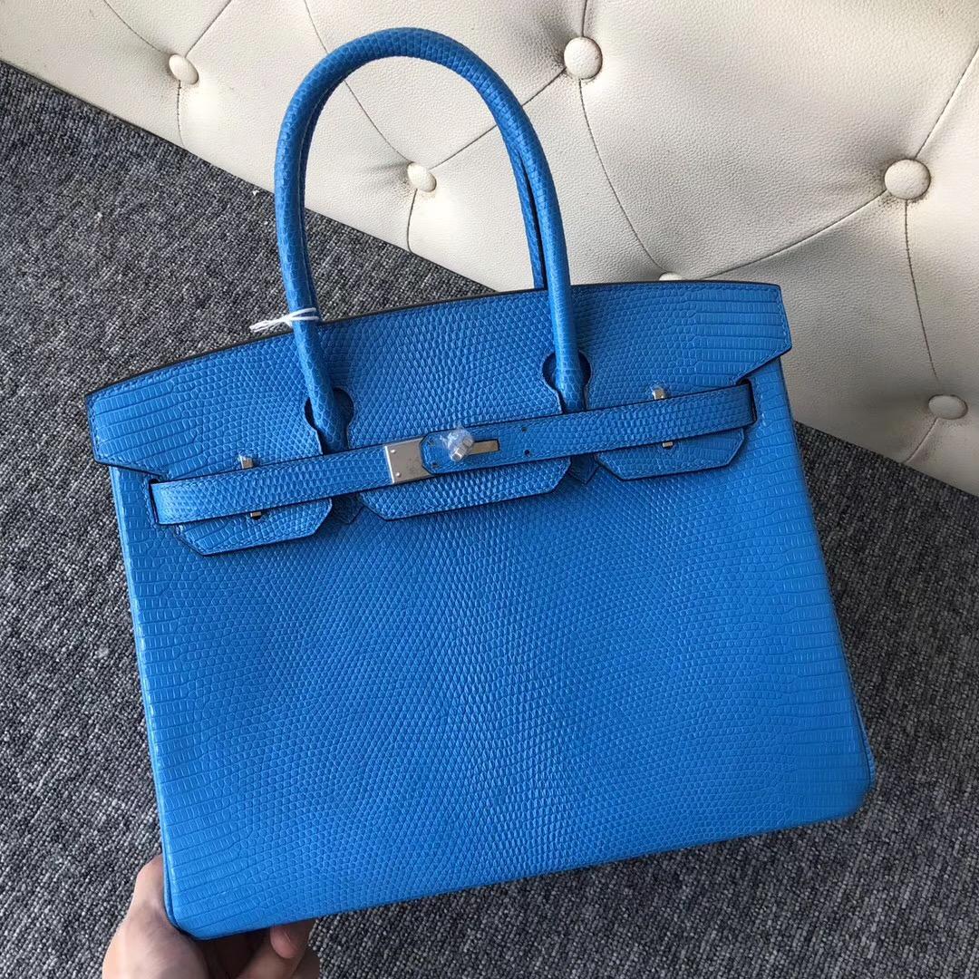 臺灣臺北愛馬仕鉑金包 Hermes Birkin 30cm 蜥蜴皮 7W Blue izmir 伊茲密爾藍