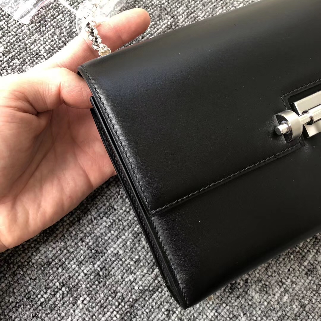 澳門專賣店 愛馬仕插銷包 Hermes Verrou 17.5cm Box皮 CK89黑色 Noir