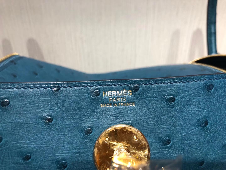 臺灣臺北愛馬仕琳迪包定制 Hermes lindy 26cm 7C珊瑚藍 Ostrich KK南非鴕鳥皮