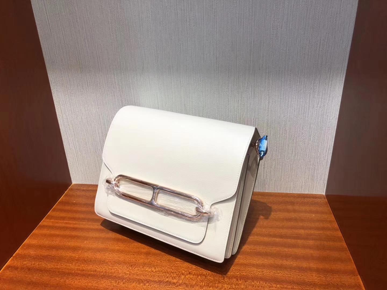 愛馬仕豬鼻子包價格 Hermes Roulis 23cm Everycolor CK10奶昔白 Craie