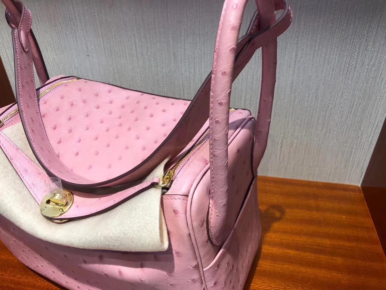Taiwan Hermes lindy 26cm 1Q Rose Confetti 奶昔粉 Ostrich 南非鴕鳥皮