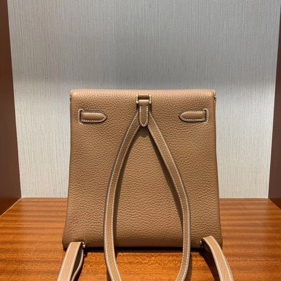 Singapore Hermes Kelly ado Backpack CK37 Gold 金棕色 taurillon Clemence
