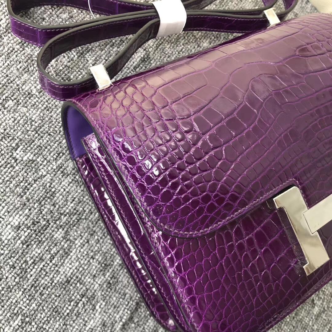 臺灣新竹市愛馬仕空姐包 Hermes Constance 24cm 5L極度紫 夢幻紫 美洲鱷