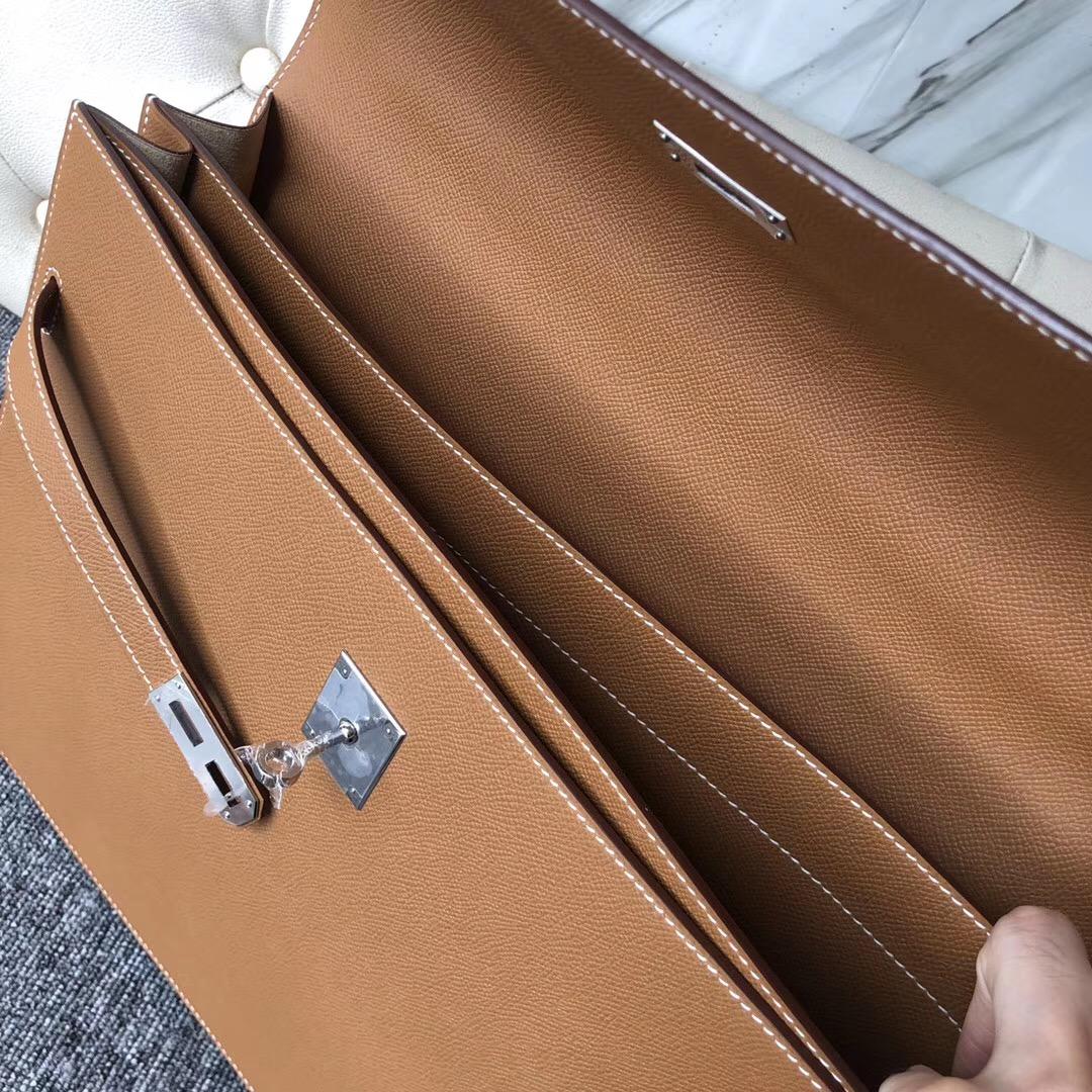 Hermes Kelly Depeches 公文包 38cm CK37 金棕色 Gold Epsom 皮