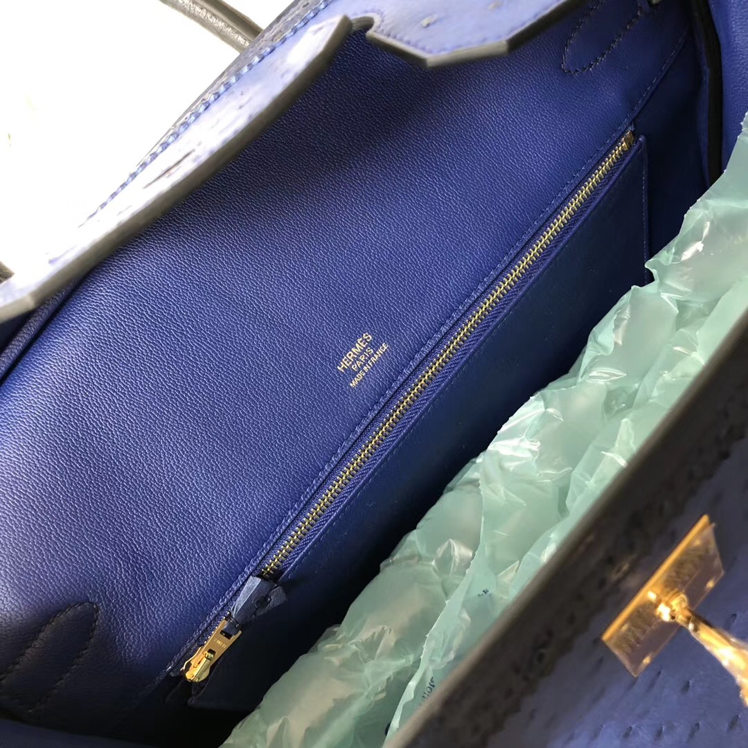 Hermes Birkin 35cm Ghillise Ostrich蕾絲邊 7T電光藍/CK73寶石藍 拉絲金扣
