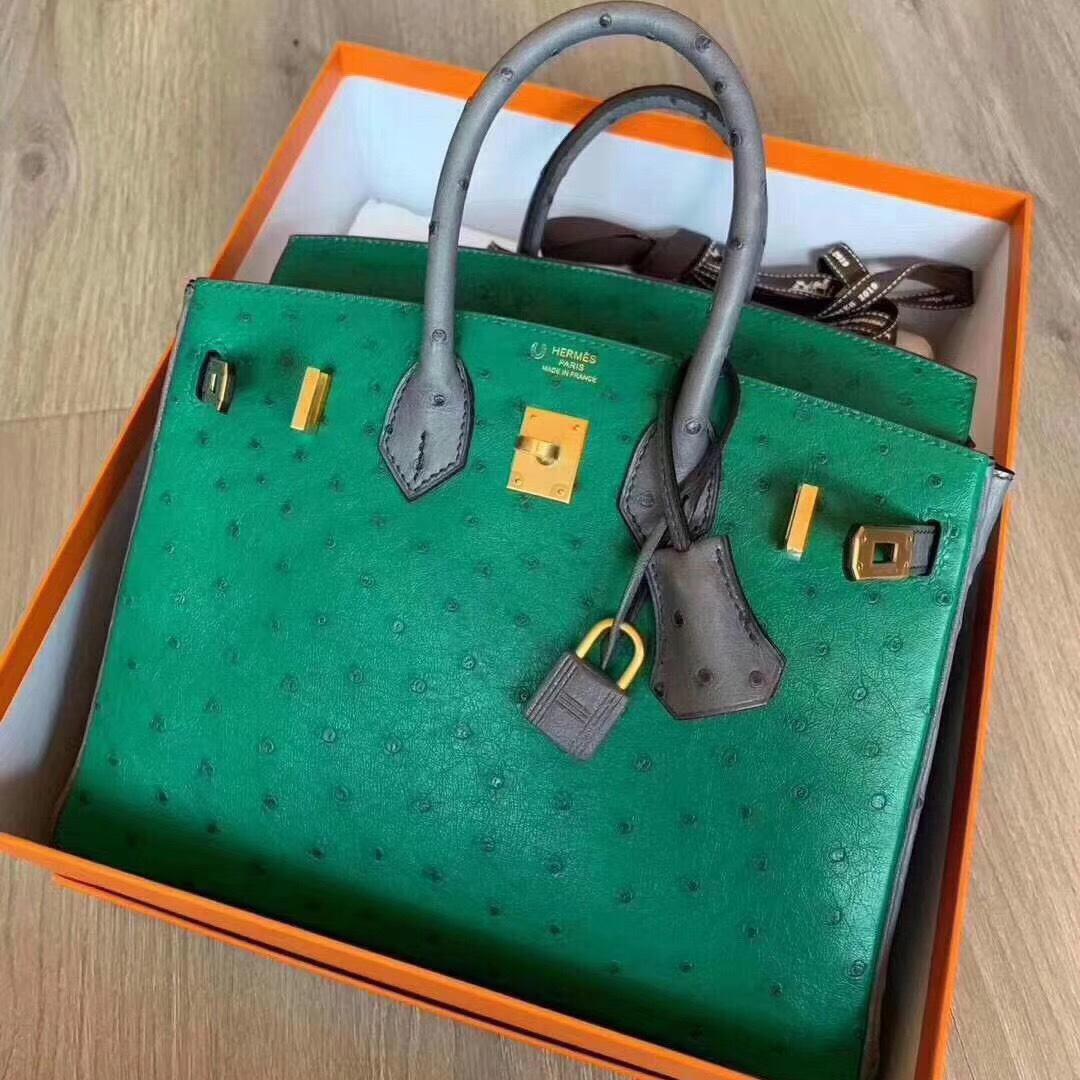 USA Hermes Birkin 25cm Ostrich U4 vert vertigo 絲絨綠拼瑪瑙灰 拉絲金扣