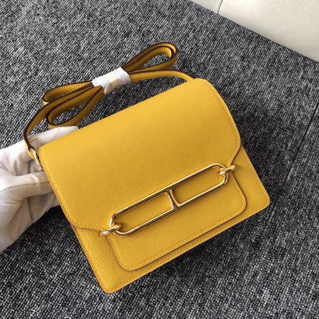 美國華盛頓州愛馬仕豬鼻子包 Hermes Roulis 18cm 9D琥珀黃 Amber Everycolor