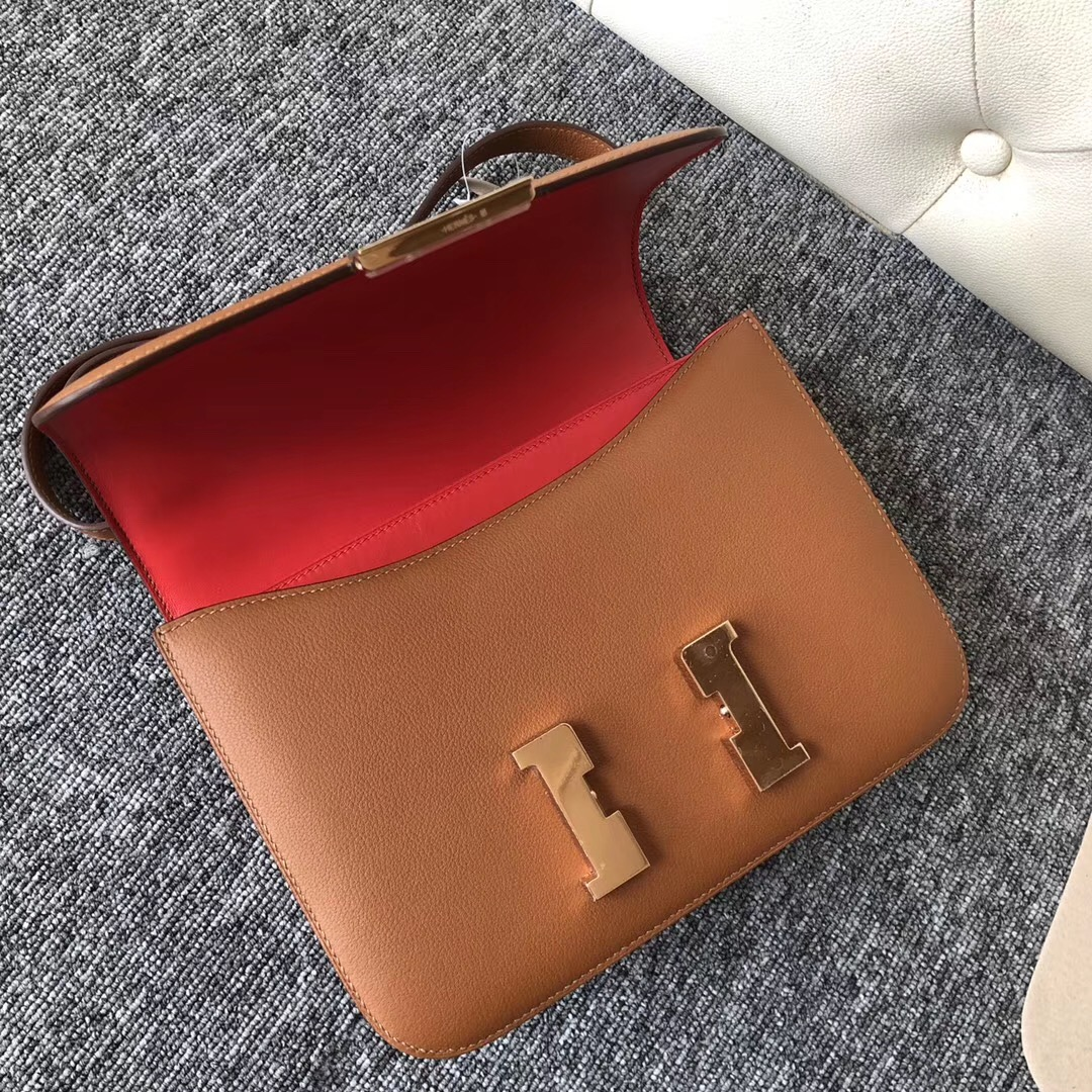 USA Hermes Constance 24cm CK37金棕色 Gold S5番茄紅Rouge Tomate Everycolor