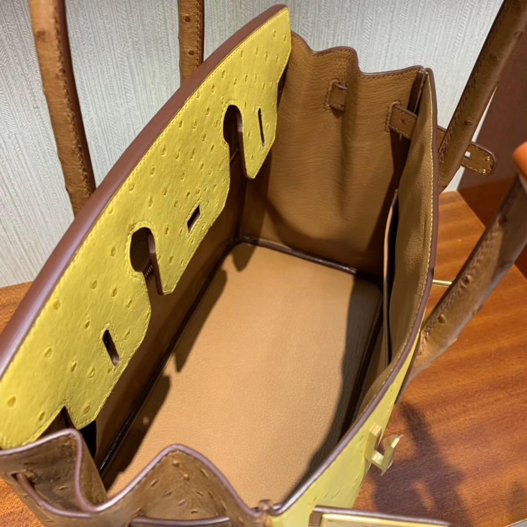 Hermes Birkin 30cm HSS Ostrich 9D 琥珀黃 Ambre /CK37 金棕色 gold