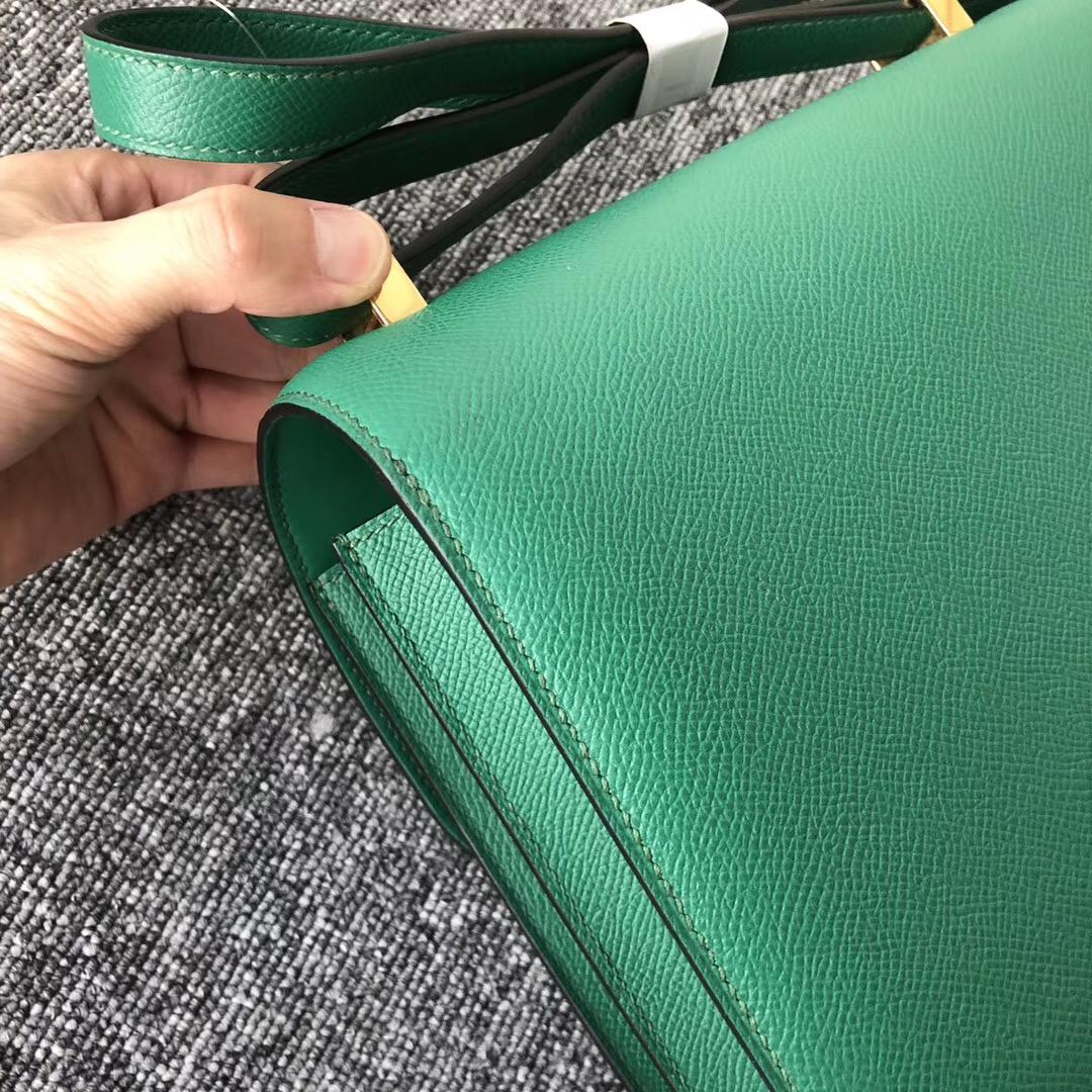 USA California Hermes Constance 24cm U4絲絨綠 Vert Verigo