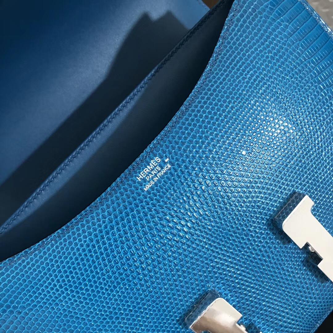 USA Hermes Constance 24cm Lizard 7W Blue izmir 伊茲密爾藍