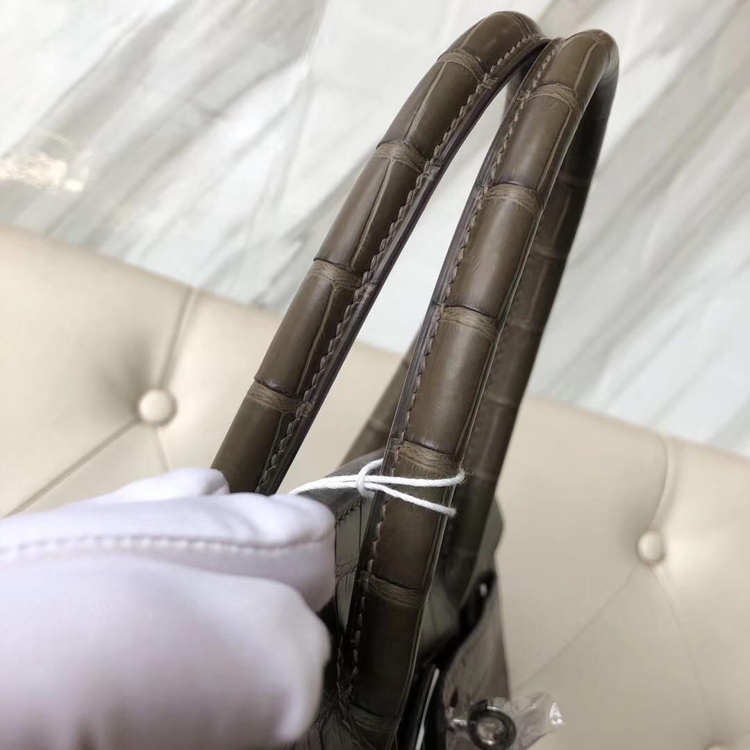 香港深水埗區愛馬仕鉑金包定制 Hermes Birkin 30cm M1新大象灰 Oregano 美洲鱷