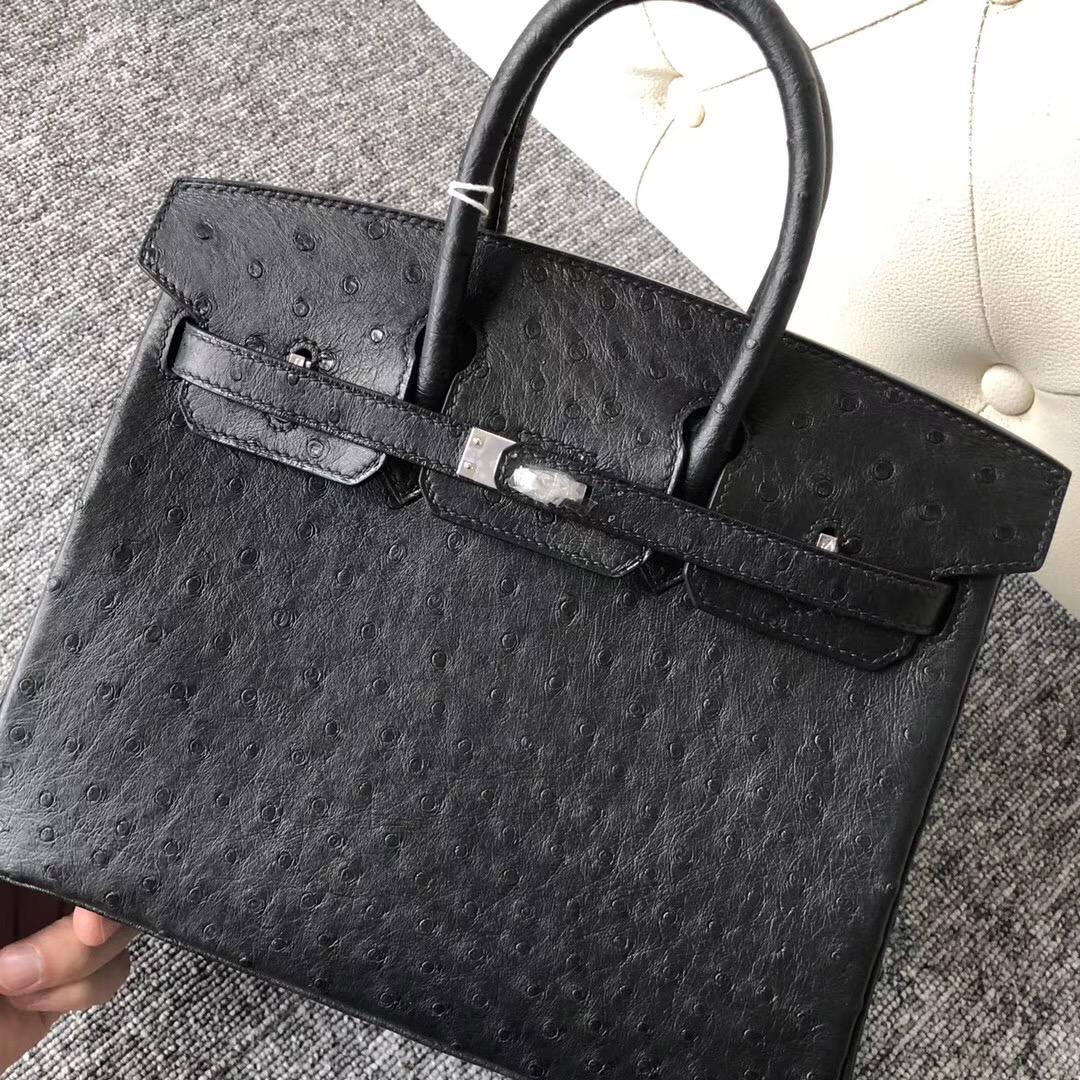 臺灣臺北桃園愛馬仕鉑金包定制 Taiwan Hermes Birkin 25cm CC89黑色 鴕鳥皮
