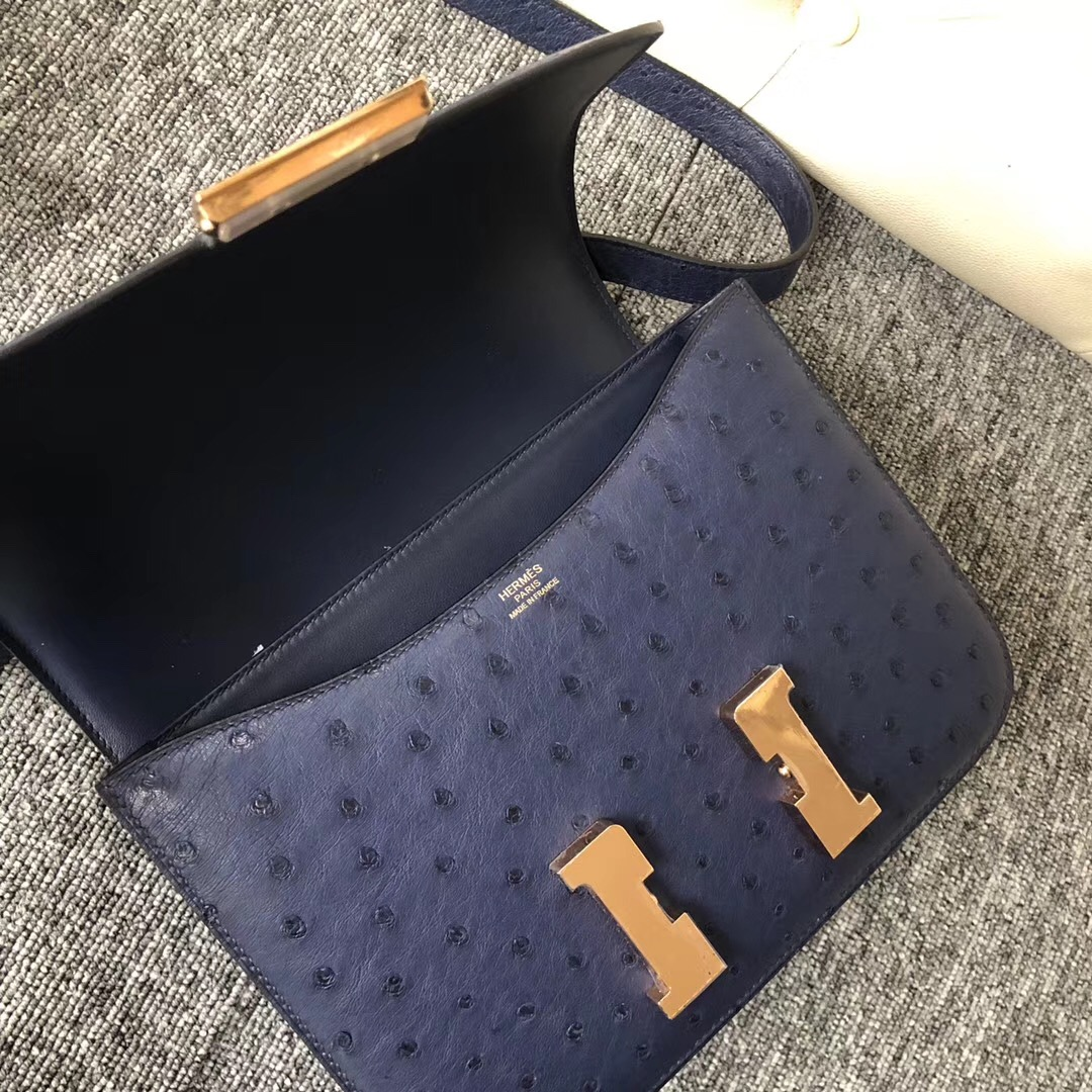 Taiwan Hermes Constance 24cm CK73寶石藍 Blue Sapphire 玫瑰金扣