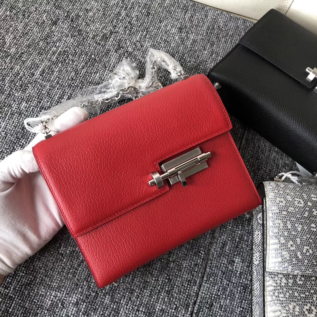 Hong Kong Hermes Verrou 17.5cm Chevre Q5國旗紅 Rouge Casaque