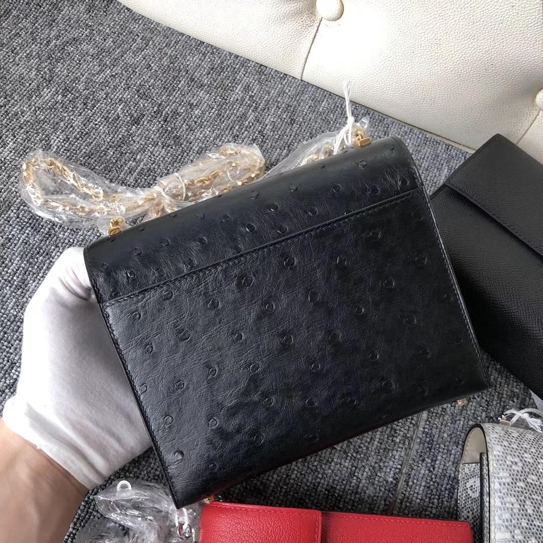澳洲愛馬仕插銷包 Australia Hermes Verrou 17.5cm Ostrich CK89黑色