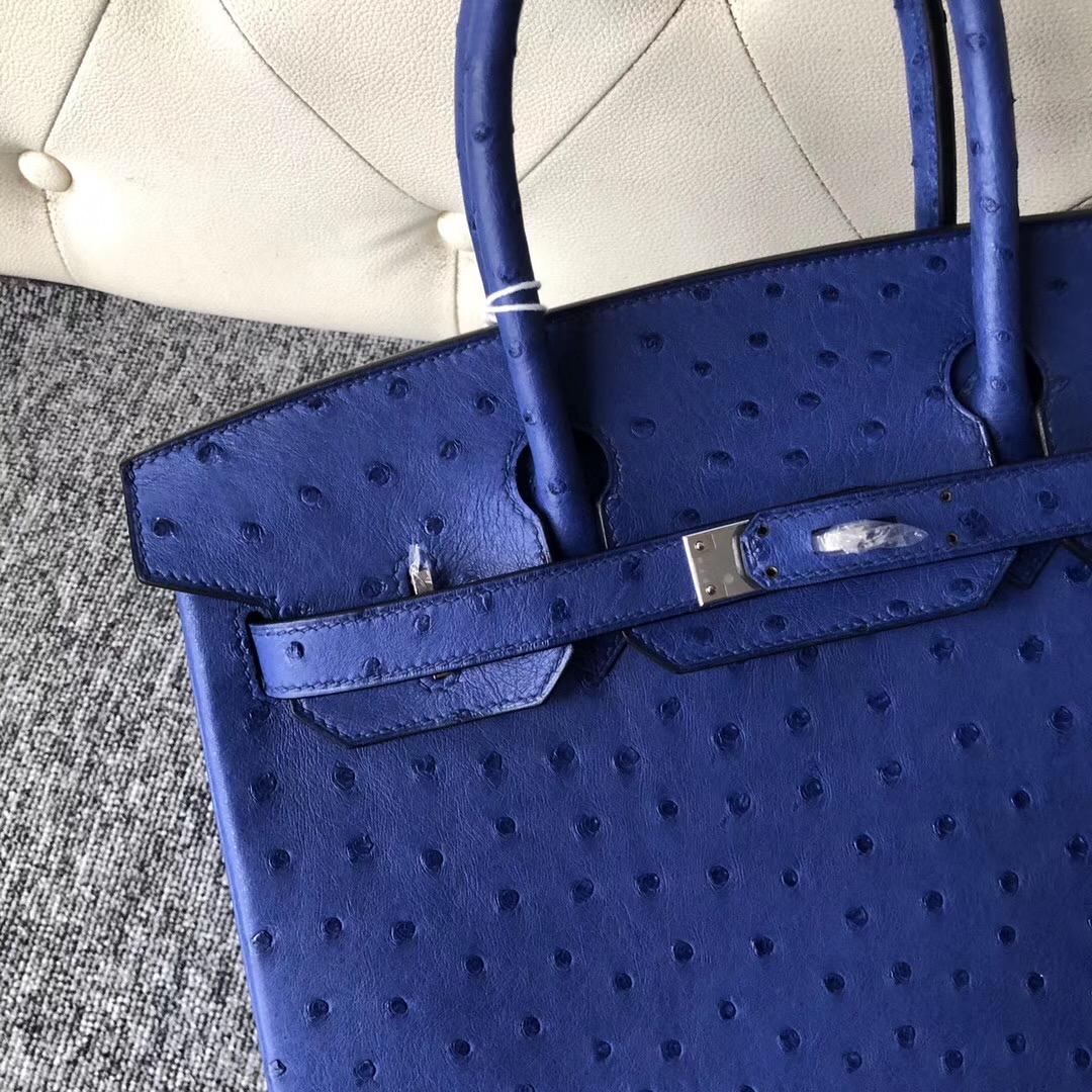 美國紐約愛馬仕鉑金包定制 New York, USA Hermes Birkin 30cm 摩登藍 Ostrich