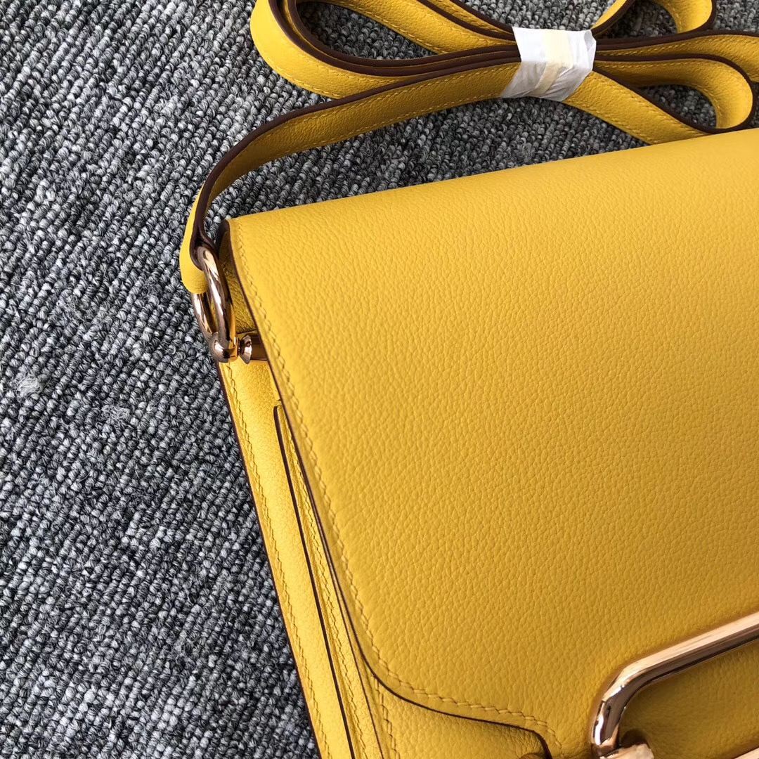 new jersey,USA Hermes Roulis 23cm 9D琥珀黃 Amber Everycolor 玫瑰金扣