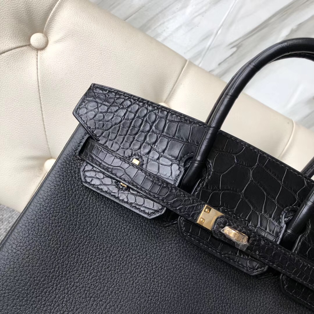 Washington State,USA Hermes Birkin 25cm Touch Togo/alligator crocodile CK89 Noir