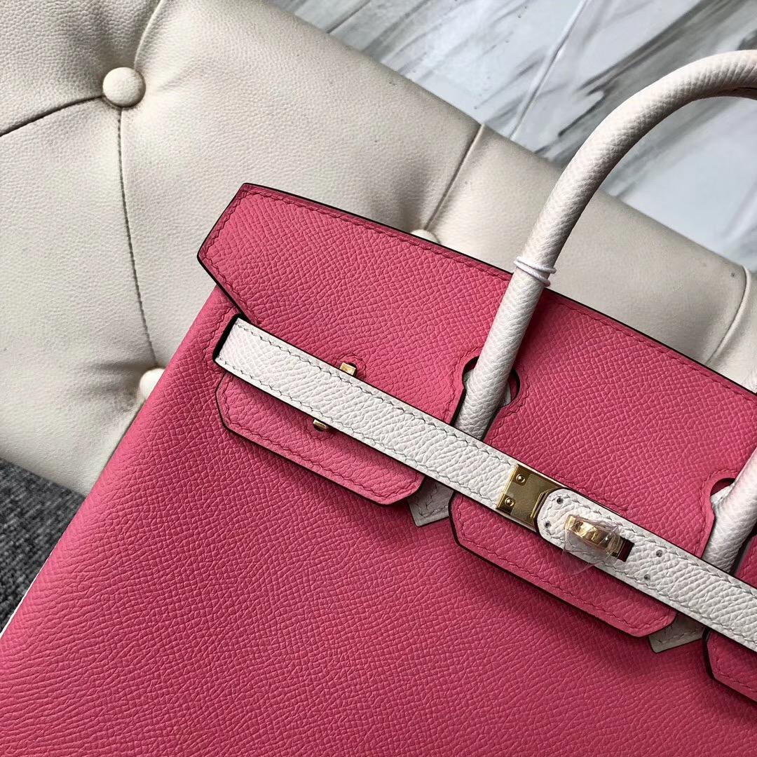 美國新澤西州愛馬仕鉑金包 USA Hermes Birkin 25cm 8W Rose azalee CK10 Craie