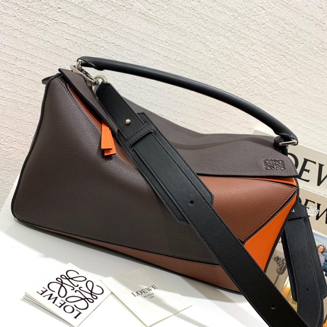 羅意威香港官網 LOEWE 大號 Puzzle Large Bag Chocolate Brown/Orange