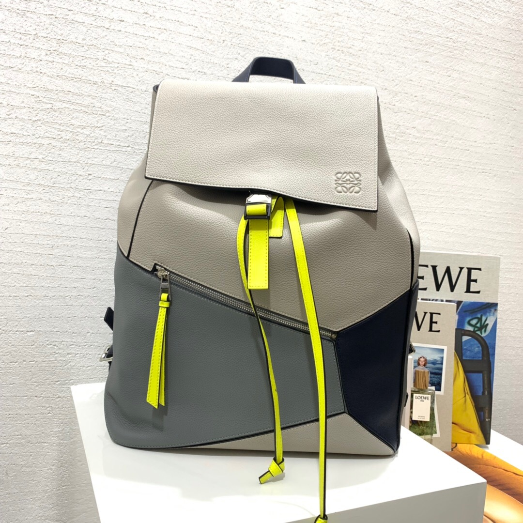 loewe男士雙肩包 幾何雙肩包 LOEWE Puzzle Backpack Grey/Yellow