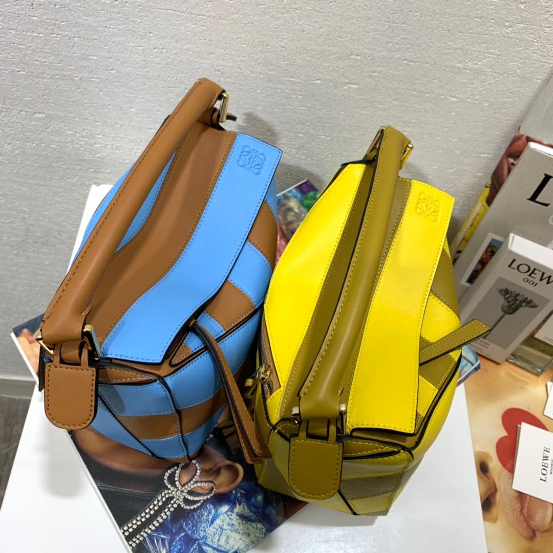 羅意威puzzle有幾個尺寸LOEWE Puzzle Rugby Small Bag Tan/Sky Blue