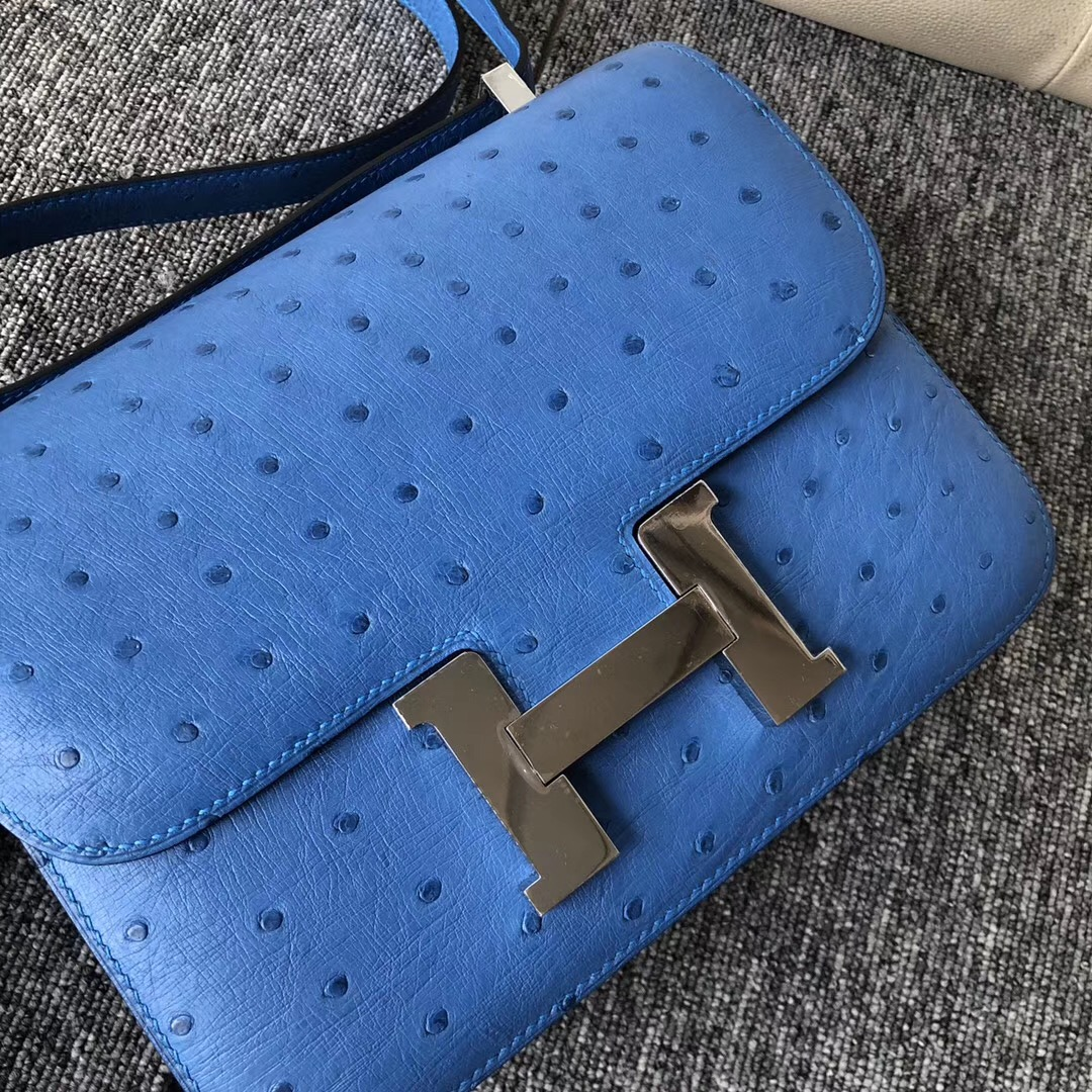 Canada Hermes Constance 24cm 7Q希臘藍 Blue Mykonos Ostrich