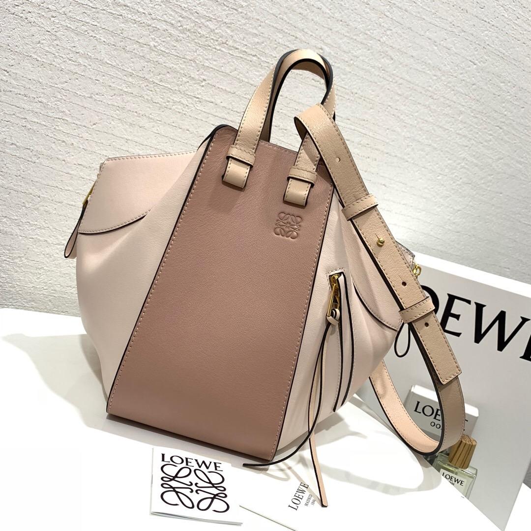 香港羅意威吊床包價格及圖片 Loewe Hammock Small Bag 藕粉拼色