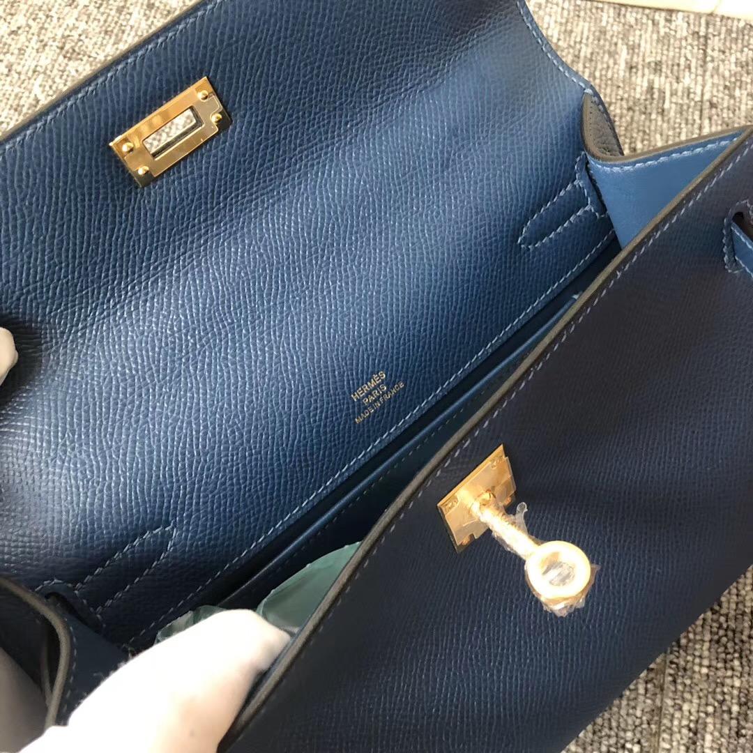 new jersey USA Hermes MiniKelly Pochette 22cm S4深邃藍 Deep Blue