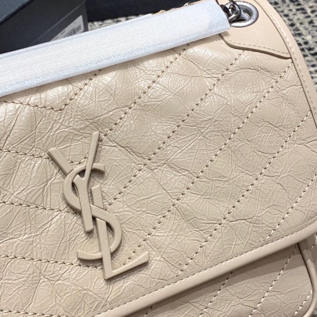香港ysl包包官網 YSL中號NIKI 褶皺絎縫 奶茶色真皮鏈條包