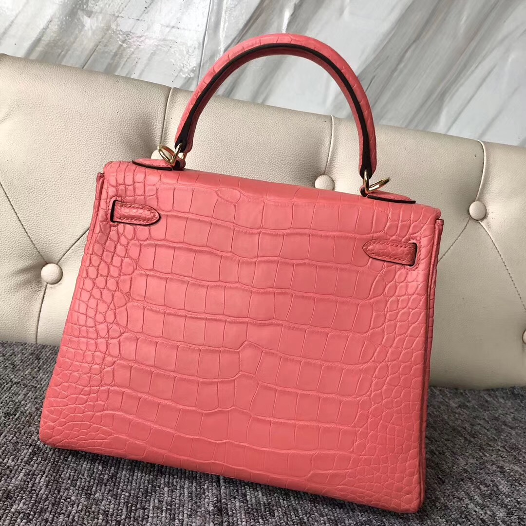 Singapore City Hermes Kelly 25cm A5 Bouganinviller杜鵑紅 Alligator Crocodile