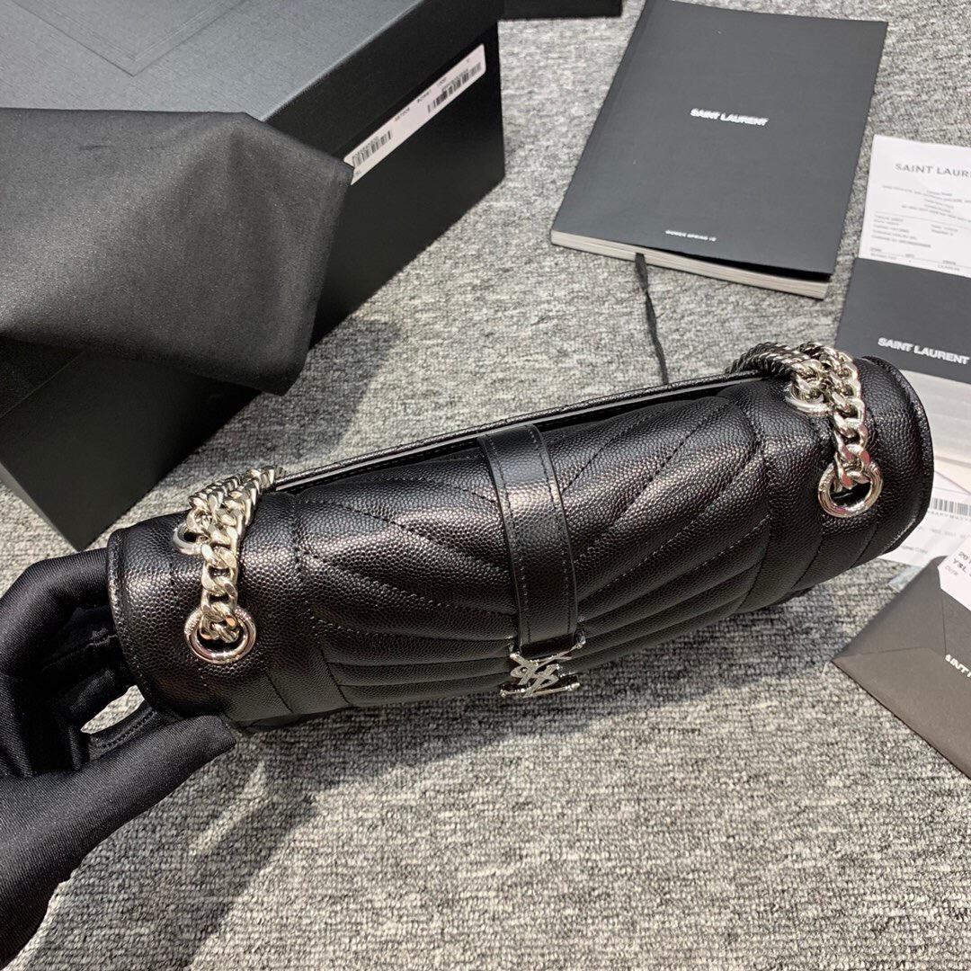 YSL ENVELOPE MEDIUM BAG 中號絎縫織紋黑色皮革信封包