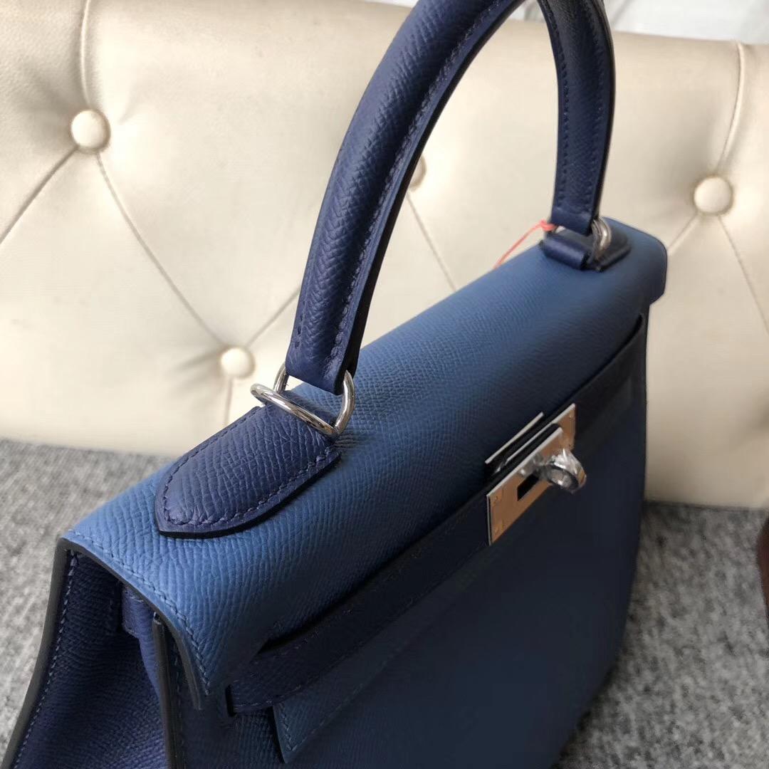 新北市凱莉包多少錢 Hermes Kelly 28cm Epsom R2瑪瑙藍/CK73寶石藍