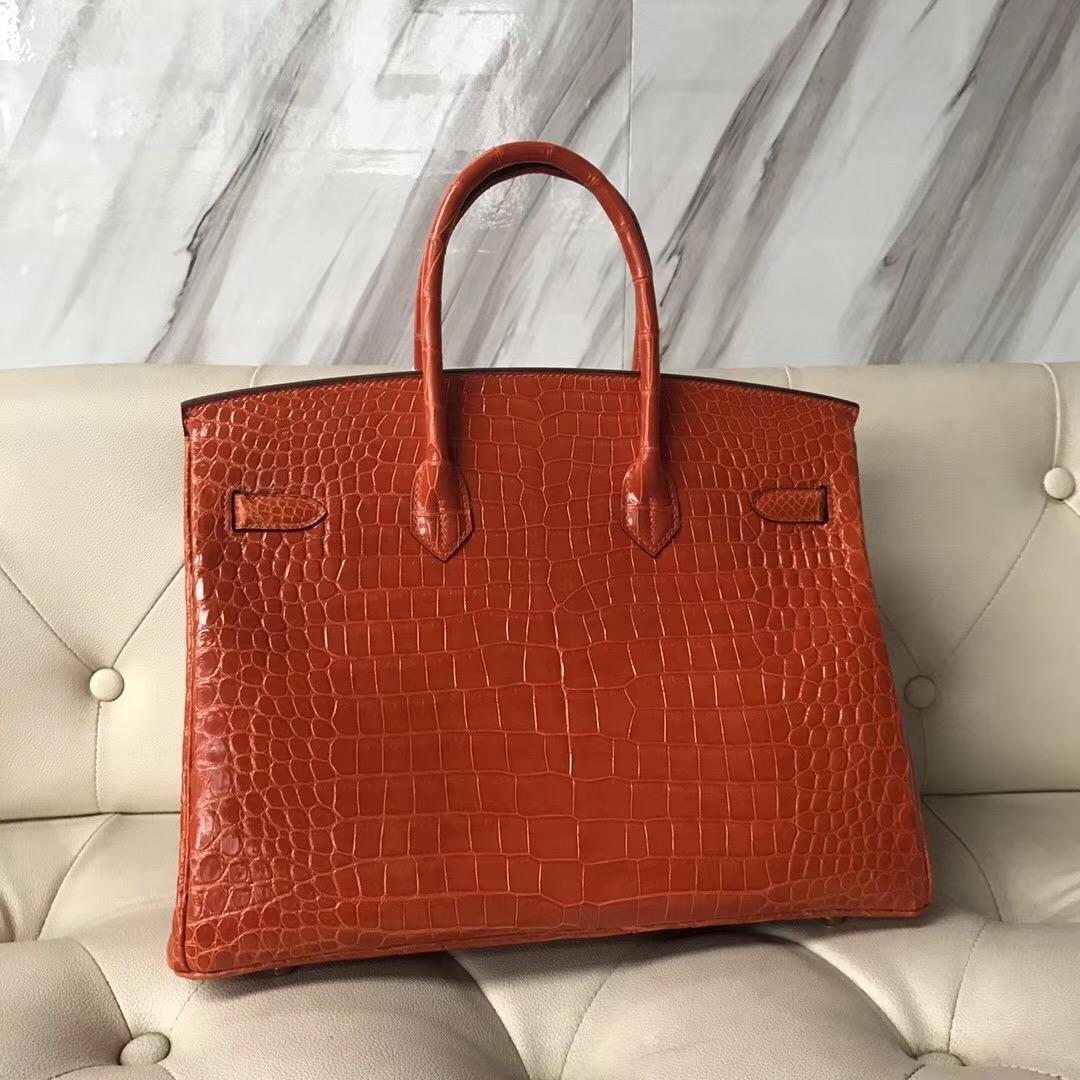 Hong Kong Hermes Birkin 35cm 8V罌粟橙 Orange Poppy 禦用原裝HCP灣鱷